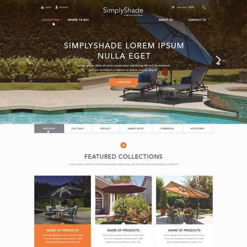 Unique, High-End HOMEPAGE Design for Outdoor Furniture Brand