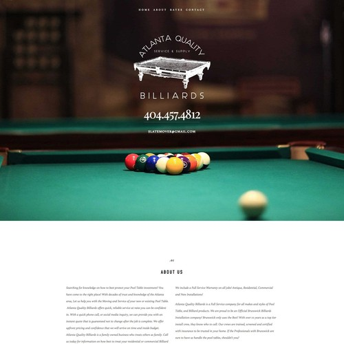 Pool Table Moving Company Squarespace Website