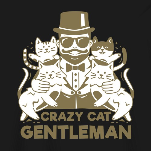 Crazy Cat Gentleman T-Shirt