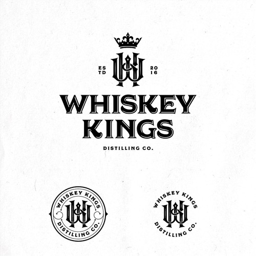 Classic masculine monogram logo design for Whiskey Kings Distilling Co.