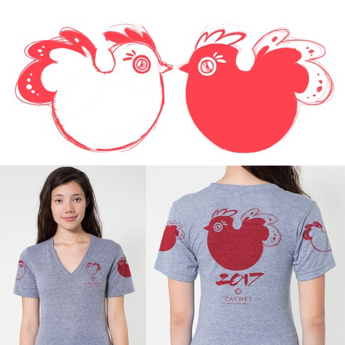 Women's Graphic Tee Sketch Concept for 2017 Lunar New Year of the Rooster