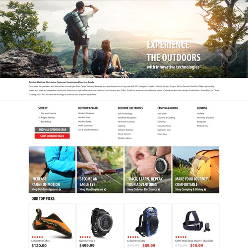 Outdoor Category Landing Page for eCommerce Retailer