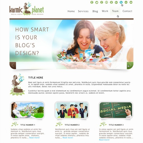 Hip, fun, engaging website design for Karmic Planet
