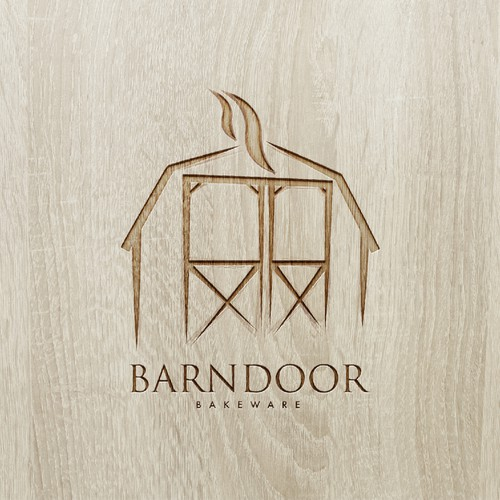 "Create a ""cool rustic"" styled logo of a Barn Door for Barn Door Bakeware Logo"