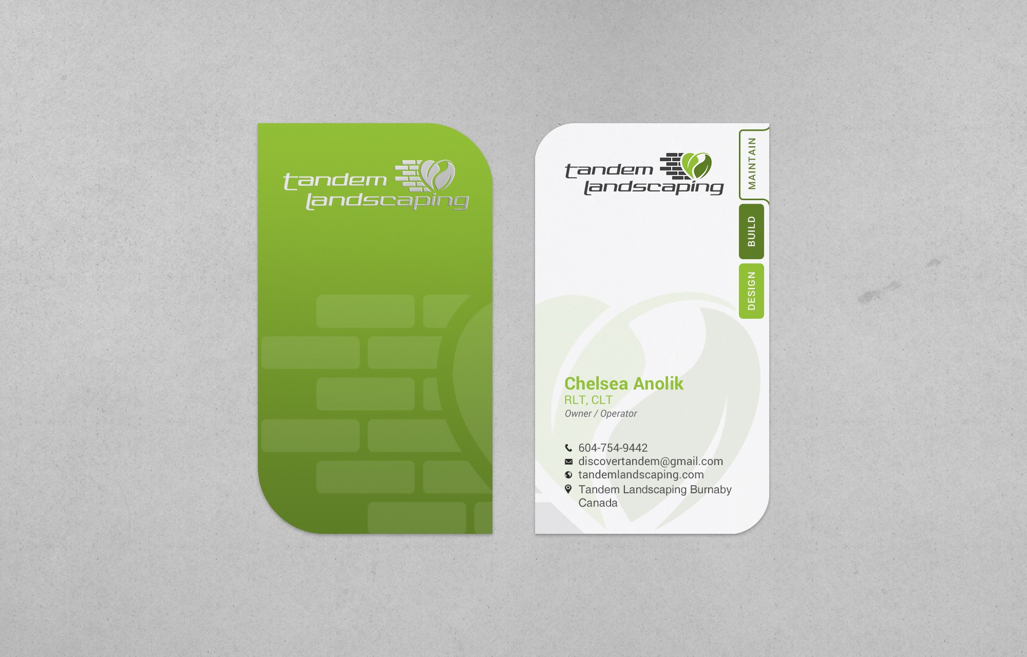 Business cards for modern and innovative Landscape/Construction company
