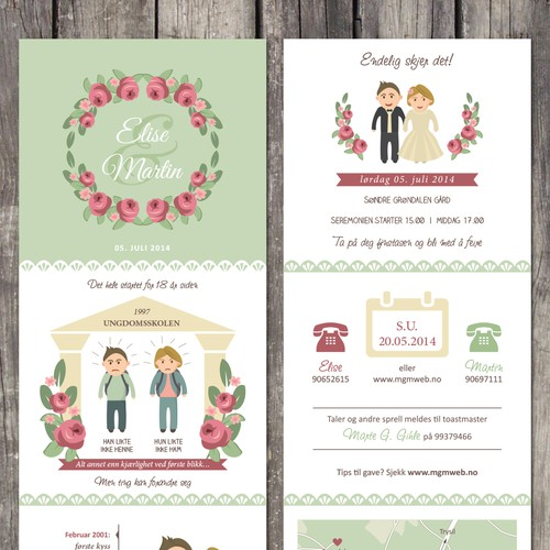 Create a romantic wedding invitation infographic style