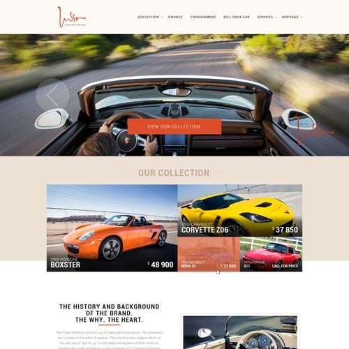 Design rare, luxurious, attractive motorcar sales site
