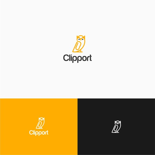 clip owl simple logo concept for clipport