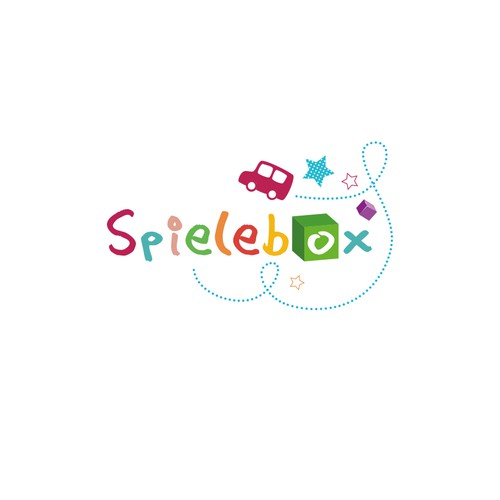 "Create a logo for ""Spielebox"" that keeps children and parents present"