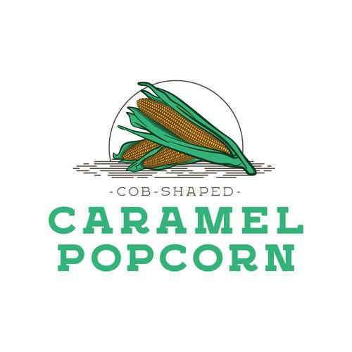 Cob Shaped Caramel Popcorn Logo
