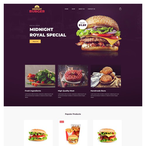 Ecommerce template for Burger shop