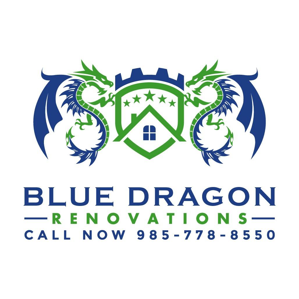 Blue dragon logo for home renovation small biz