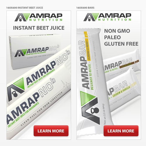 Banner ads for AMRAP Nutrition