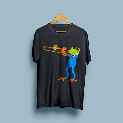 frog playing trombone