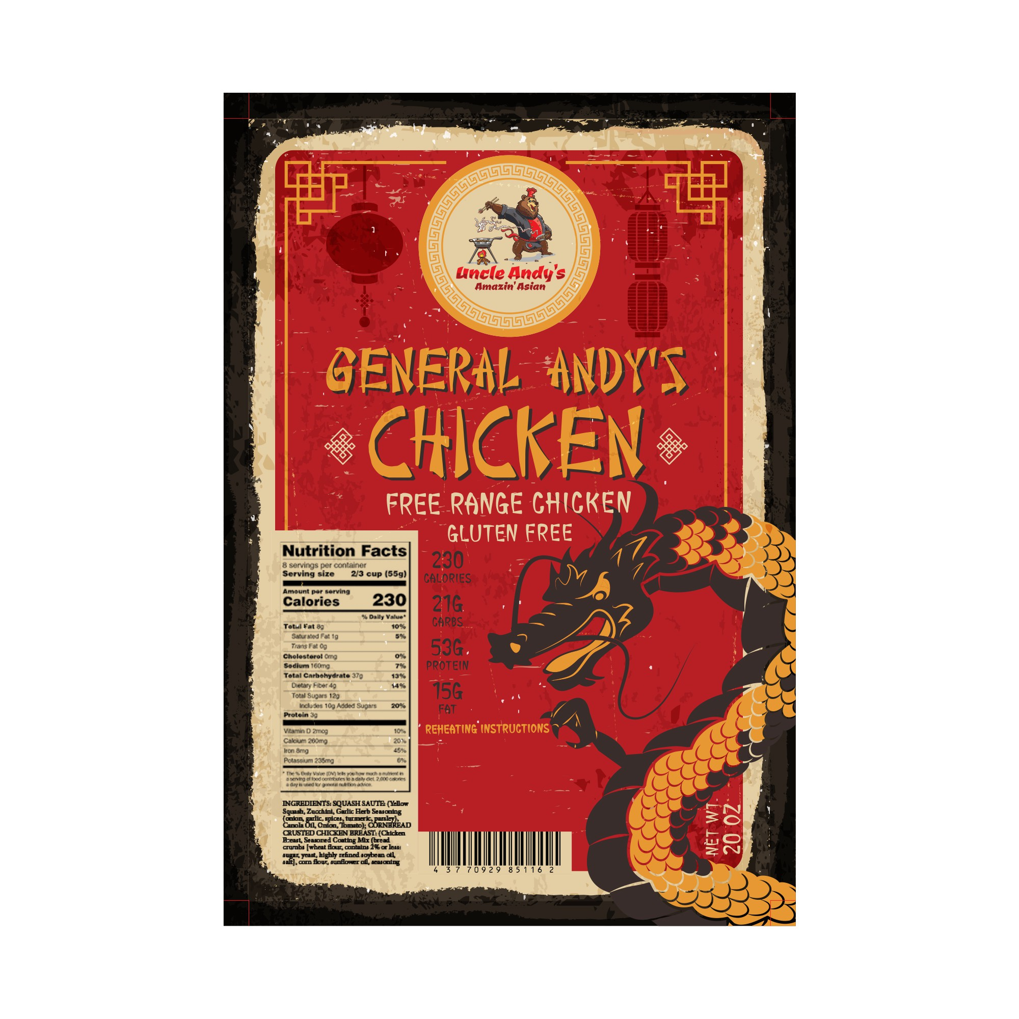 Uncle Andy's Amazin' Asian - General Andy's Chicken (4 in x 6 in)