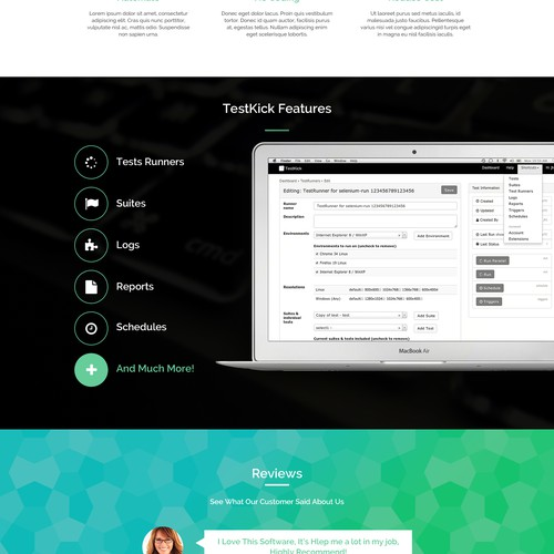 Create a front page for a UI testing site