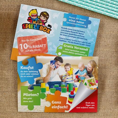 Kreativer Flyer für Kinder und Eltern -> Spieleabo_2