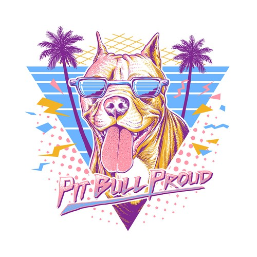 80s Style Pitbull T-shirt Design