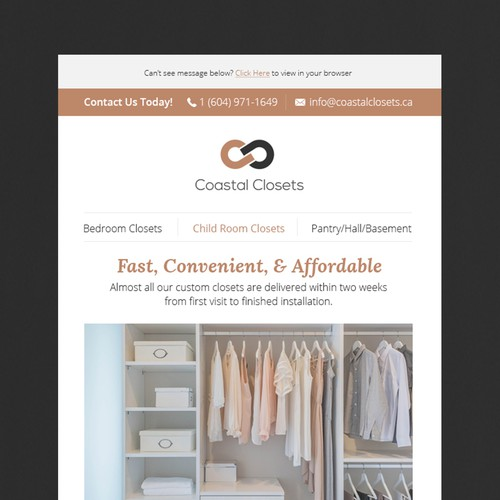 Design a feminine and stylish eblast for reach-in closets