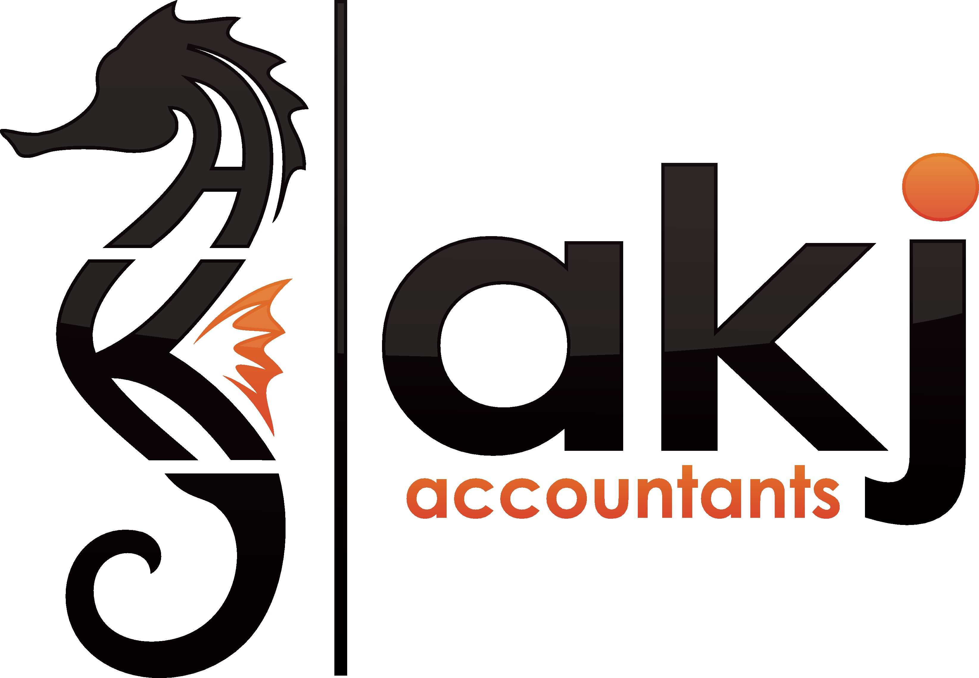 "Create quintessential seahorse illustration using three letters ""akj"" for AKJ Accountants"