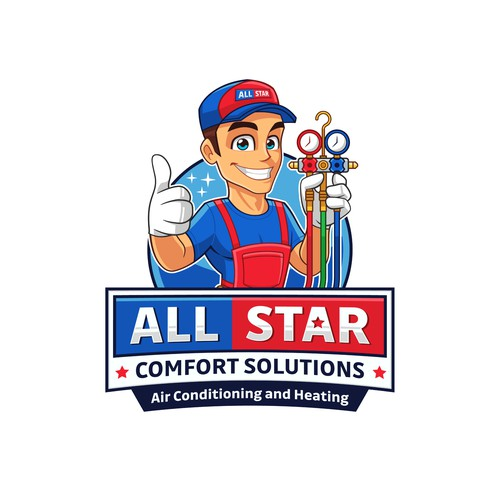 Fun logo design for All Star Comfort Solutions