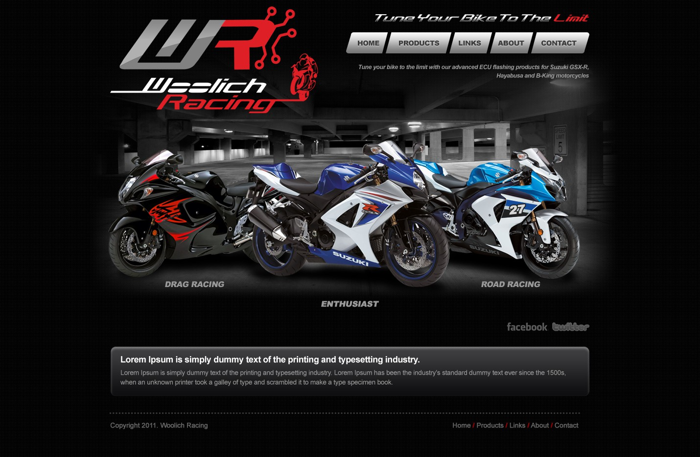 Woolich Racing needs a new website design