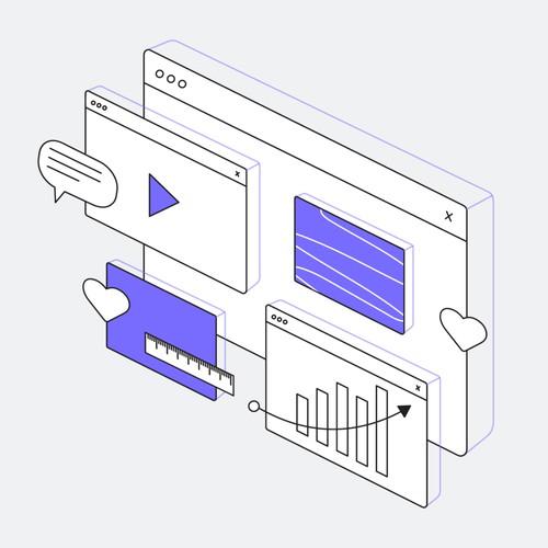 Marketing designer/video editor job ad illustration