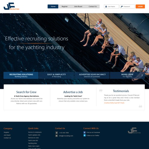 Create a design for a Super yacht crew agency