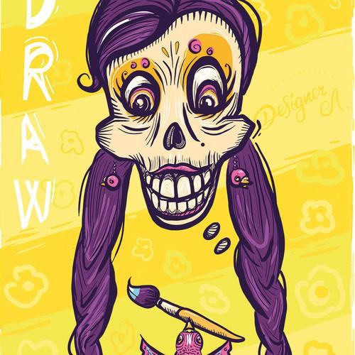 Día de Muertos. Mexican vector of Catrina. Happy artist