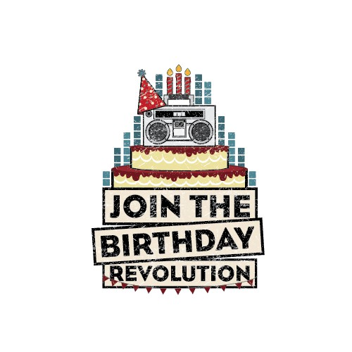 Russian revolution poster themed birthday logo