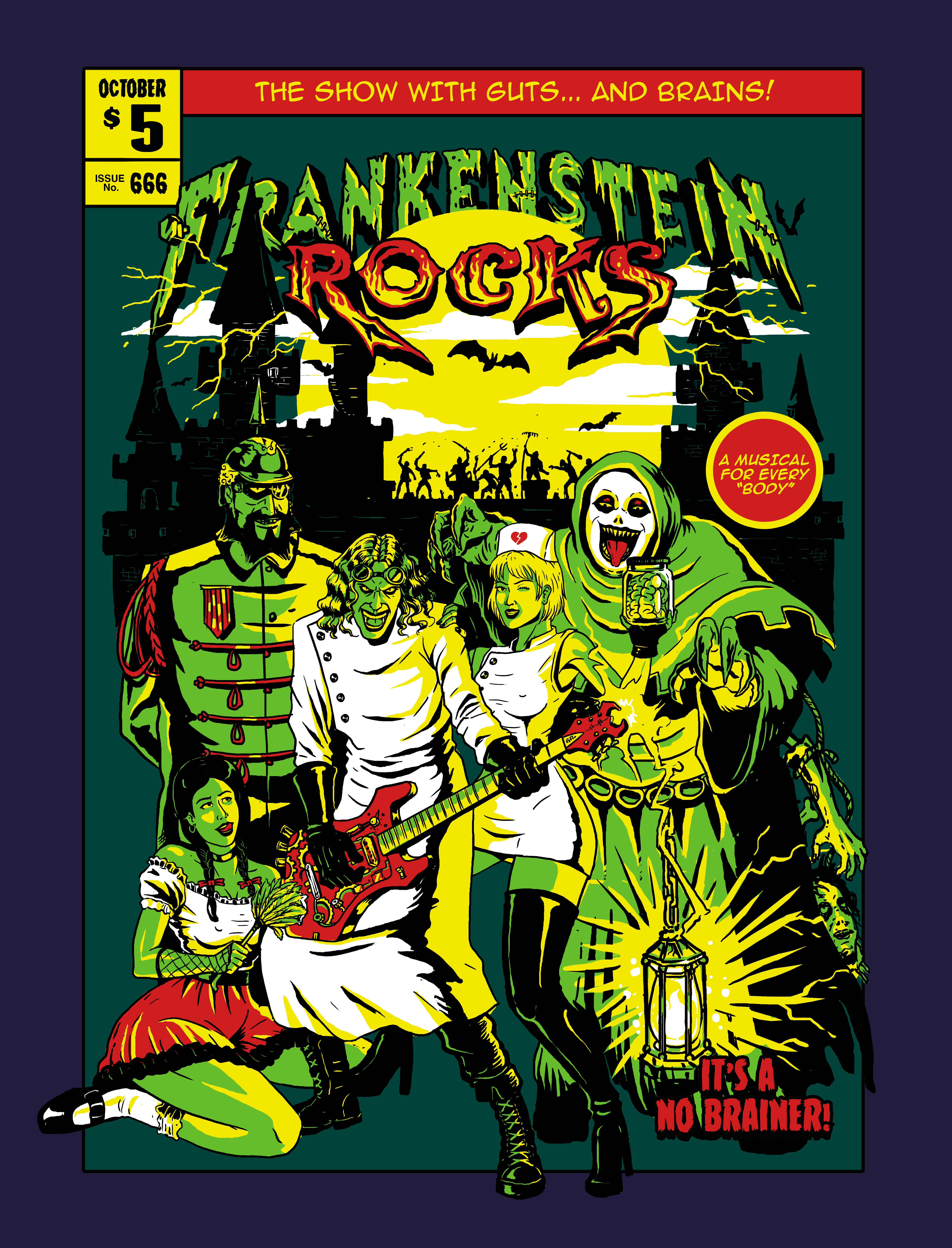"""""""Comic Book"""" Front Cover Style for """"FRANKENSTEIN ROCKS"""" Rock and roll musical"""