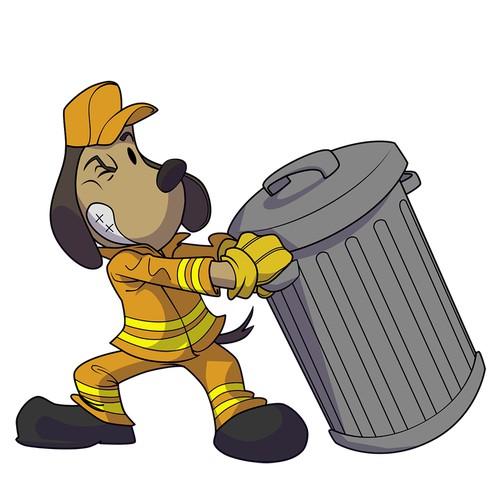 Dog with trashcan 01