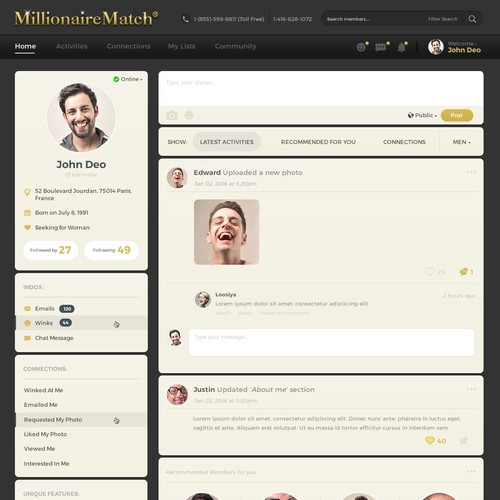 Dark Webpage design for Millionaire Match..