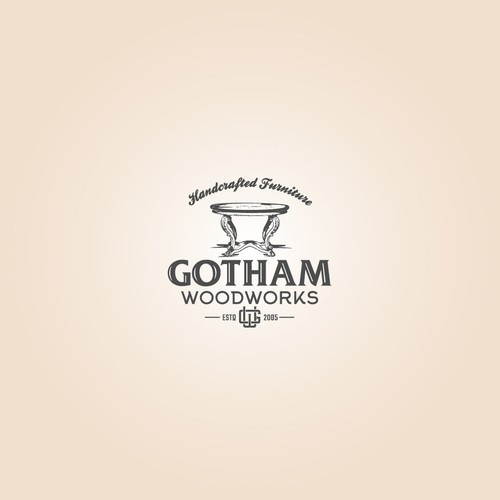 A badge type logo of Gotham Woodworks.