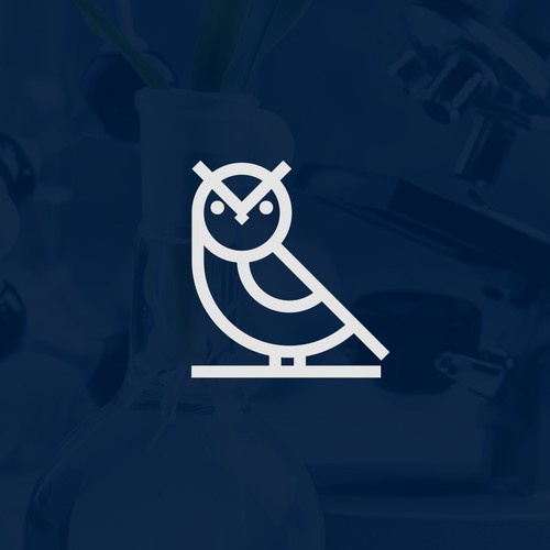 Logo simple owl for biotechnology company