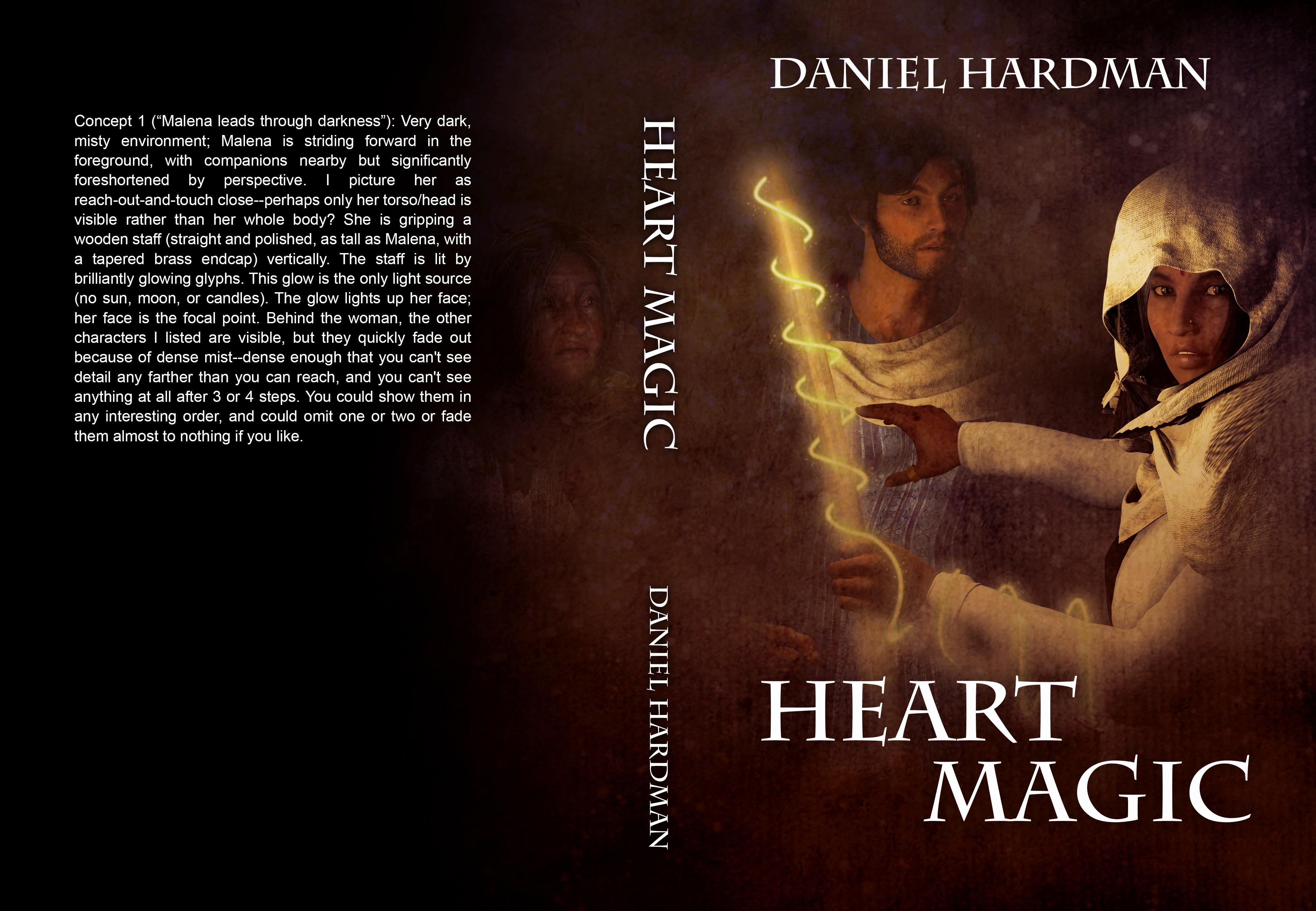 "cover for a fantasy novel, ""Heart Magic"""