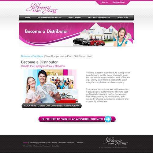 Skinny Body Care needs a new website design