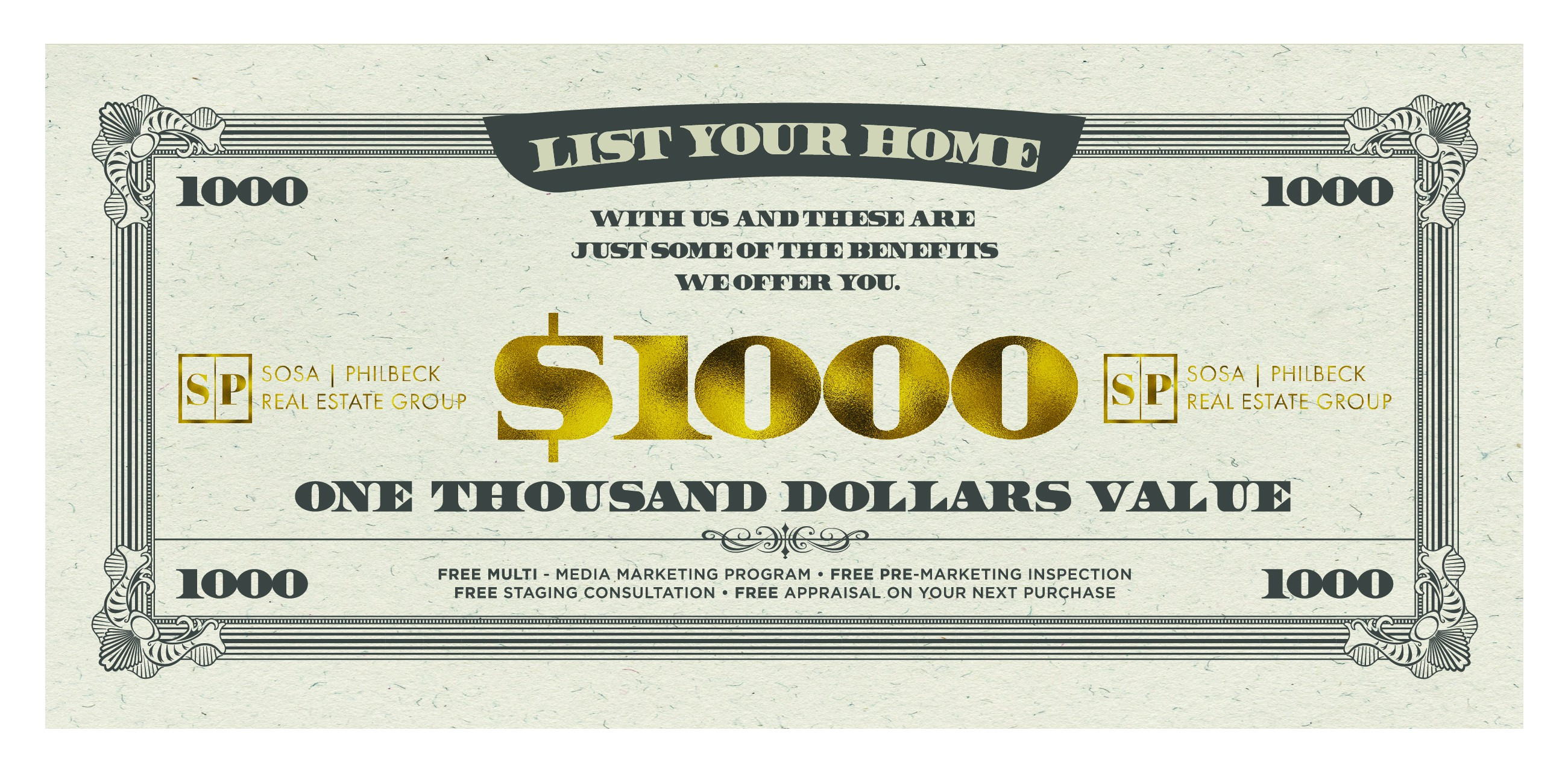 Create an attractive coupon for Sosa Philbeck Real Estate Group