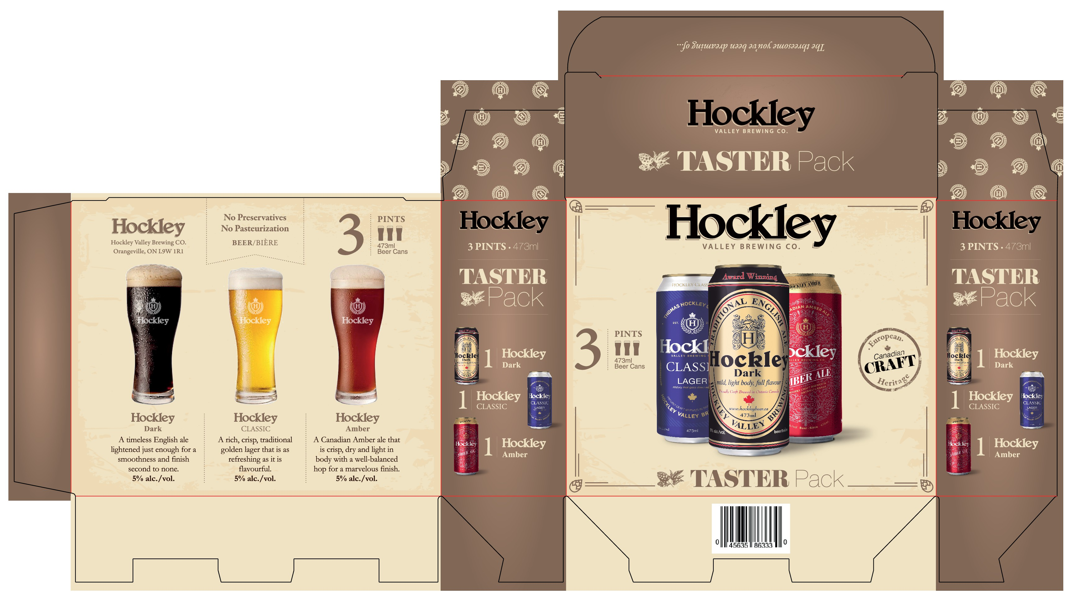 Update three-pack box for very well established award winning craft brewery