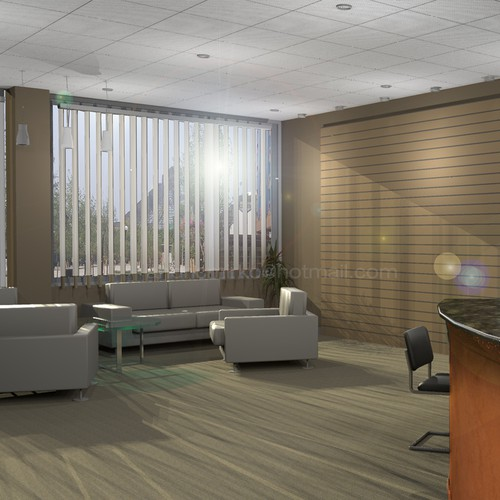 Need a creative 3D rendering of office layout.