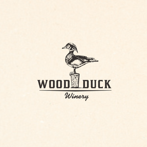 Elegant rustic logo for winery
