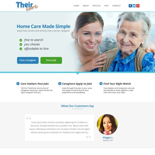 Landing Page for Their Care