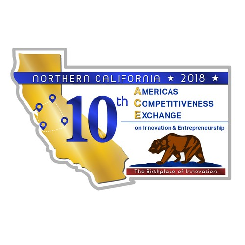 Blue and Gold logo contest winner for the Americas Competitiveness Exchange in California 2018