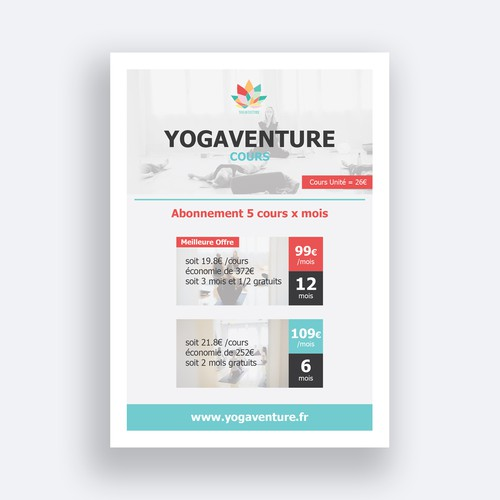 Elegant YOGA membership Pricing sheet