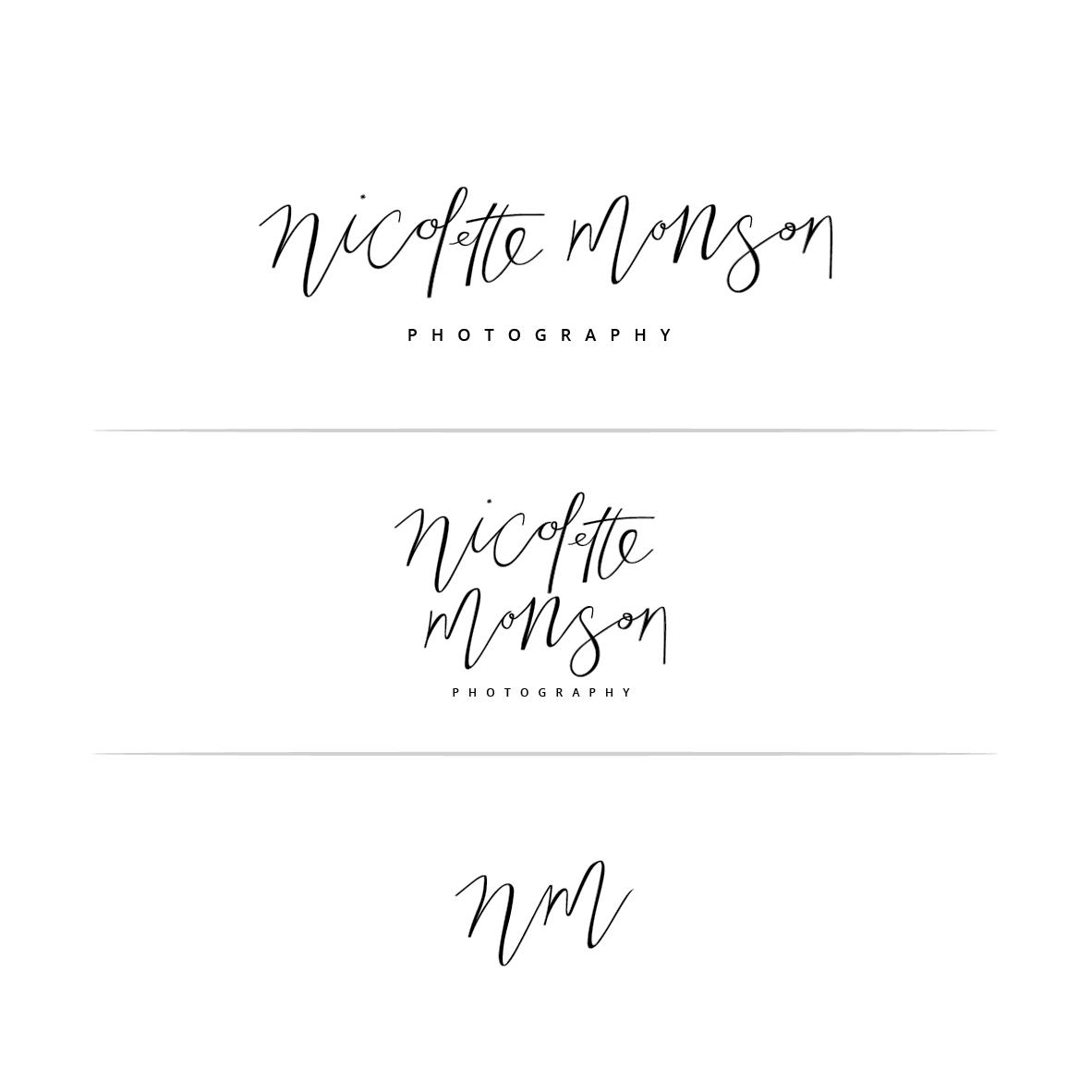 Design calligraphy inspired logo for Nicolette Monson Photography