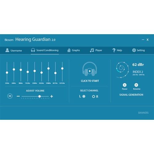 Design an desktop software interface for Biosom - Hearing Guardian version 2
