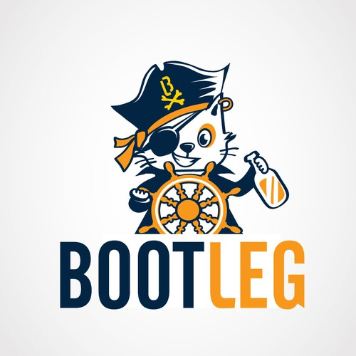 Fun logo for a natural language system called Bootleg; possible themes of pirates, booze, and cats.
