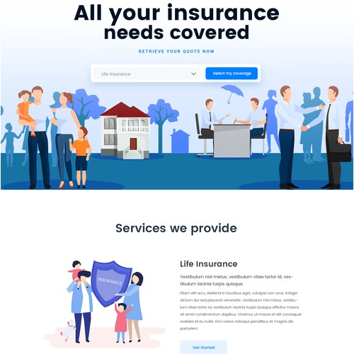 Home Page Design for Insurance Site