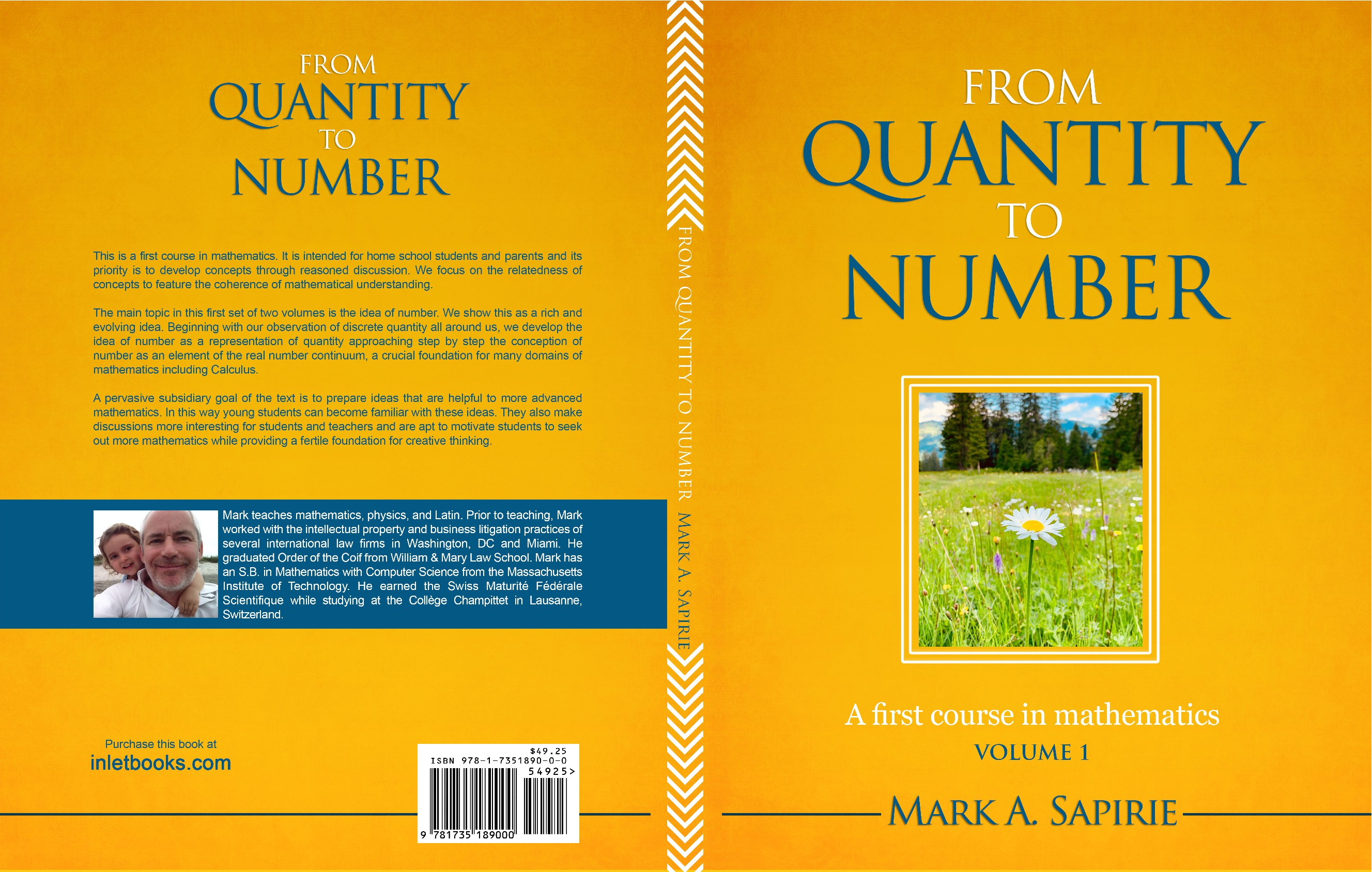 An elegant book cover design for a first course in mathematics
