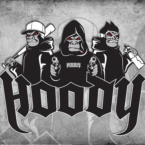 Three wise monkeys Music Hip Hop Logo Design Deaf Blind Mute Gorillaor Ape